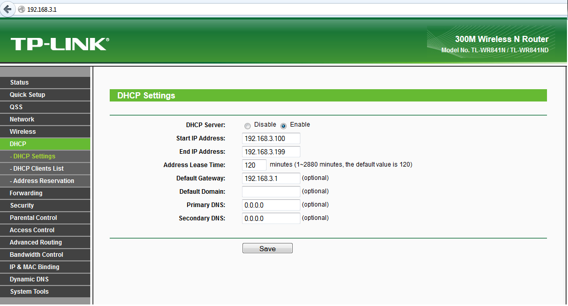 dhcp Roteador_TP-LINK_WR_841_-_DHCP_Settings